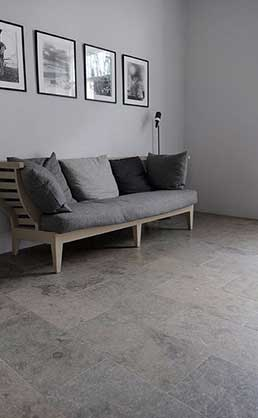 Grey limestone flooring