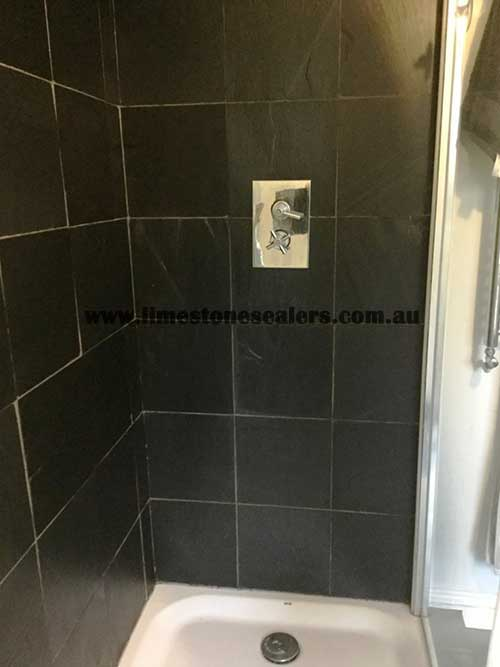 Bouvard Black Limestone Shower Cubicle After Cleaning and sealing