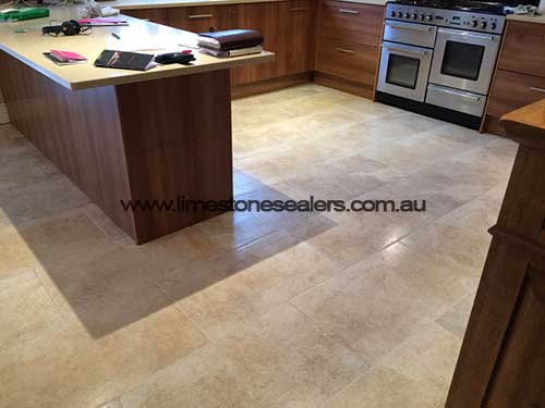 Limestone Tiles After Cleaning and Sealing