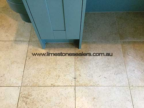 Polished Limestone Floor Before Cleaning