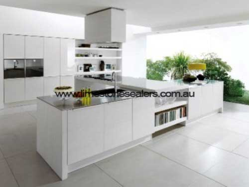 Bunbury White Cabinets with Limestone Tile Floor in kitchen
