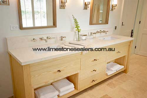 Hobart bathroom limestone counrtertop
