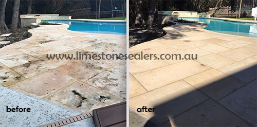Bendigo before and after cleaning and sealing limestone patio and pool coping