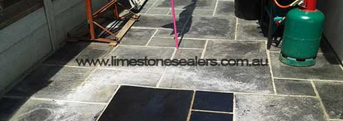 Wagga Wagga black limestone patio test clean