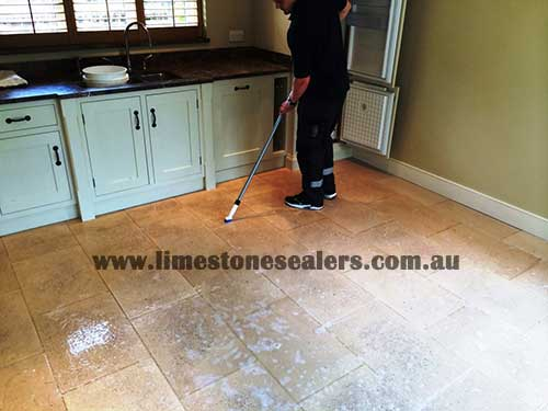 Bunbury cleaning and sealing dirty limestone kitchen tiles