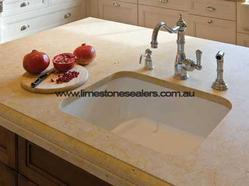 Hobart kitchen limestone countertop