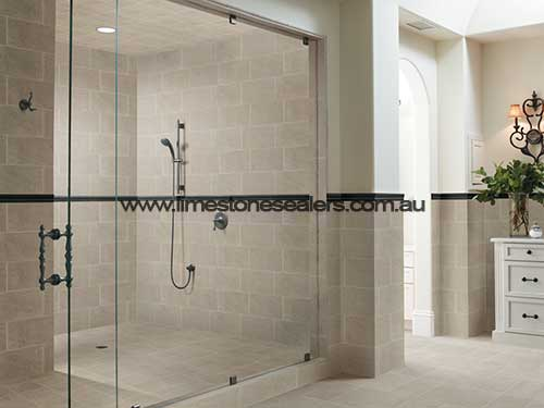 Bouvard limestone tile bathroom shower