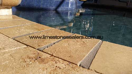 Wagga Wagga limestone tile floor around pool