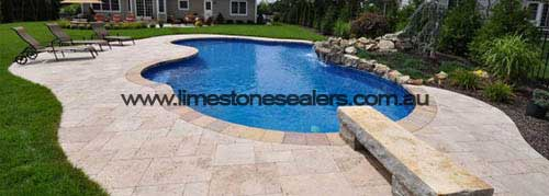 pool decks sealing limestone pool coping with natural stone