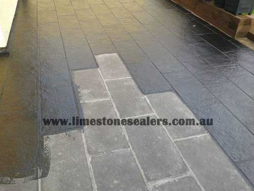 Wagga Wagga sealing floor of black limestone before and after